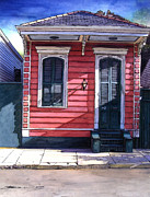 French Door Paintings - Red Shotgun House 382 by John Boles