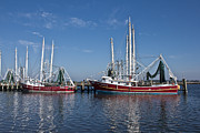 Joan Mccool Art - Red Shrimp Boats by Joan McCool