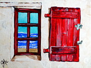 Jrcarmax Paintings - Red Shutter Ocean by Jackie Carpenter