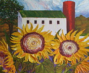 Lancaster Artist Prints - Red Silo Sunflowers and Barn Print by Paris Wyatt Llanso
