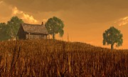 Farmstead Posters - Red Skies at Night Poster by Daniel Eskridge