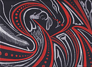 Whale Drawings Metal Prints - Red Skin Metal Print by Cyaltsa