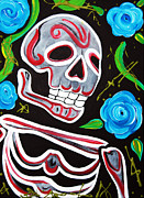 Modern Folk Art Paintings - Red Skulls N Roses by Laura Barbosa