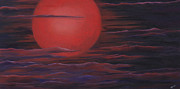 Michelle Painting Originals - Red Sky A Night by Michelle Joseph-Long
