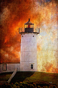Maine Lighthouse Posters - Red Sky At Morning - Nubble Lighthouse Poster by Lois Bryan