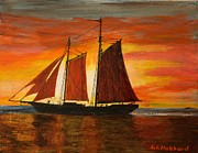Tall Ships. Marine Art Paintings - Red Sky At Night by Bill Hubbard