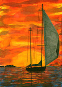 Sailboat Ocean Tapestries - Textiles Prints - Red Sky At Night Print by Jean Baardsen