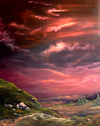 Crossbill Painting Originals - Red Sky At Night by Jean Walker