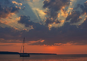 Yacht Digital Art - Red Sky at Night - Simcoe by Pat Speirs