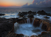 Tidepool Prints - Red Sky Cauldron Print by Mike  Dawson