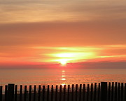 Rehoboth Beach Prints - Red Sky in Morning Print by Kim Bemis