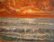 Red Sunset Painting Framed Prints - Red Sky Marine Framed Print by Joe Leahy