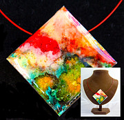 River Jewelry Prints - Red Sky Necklace Print by Alene Sirott-Cope