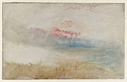 Turner Framed Prints - Red sky over a beach study 1845 Framed Print by Joseph Mallord William Turner