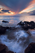 Hawaii Sunset Posters - Red Sky over Lanai Poster by Mike  Dawson