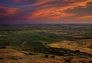 Palouse Prints - Red Sky over the Palouse Print by Mike  Dawson