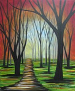 """abstract Realism"" Paintings - Red Sky Path by Molly Roberts"