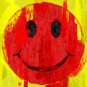 Smiley Face Framed Prints - Red Smiley Face Abstract Framed Print by David G Paul