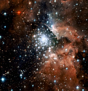 Space Photo Prints - Red Smoke Star Cluster Print by The  Vault