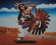 Beautiful Creek Painting Originals - Red Son Dancer by Robert McIntosh