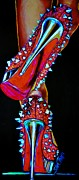Exotic Dancer Framed Prints - Red Spiked Shoes - Print Showing Neon Effects Framed Print by Shirl Theis