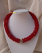 Red Jewelry - Red Spiral Necklace With Silver Beads I by Nurit Schlomi von-strauss