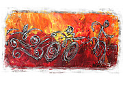 Action Sports Art Paintings - Red Splash Triathlon by Alejandro Maldonado