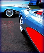 1956 Chevy Corvette Framed Prints - Red Splashed Asphalt with Two Chevrolets Framed Print by Don Struke