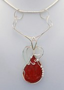 Ornate Jewelry - Red Sponge Coral Pendant in Sterling by Holly Chapman