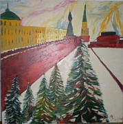 Moscow Paintings - Red Square by Preciada Azancot