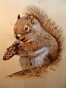 Pine Pyrography Prints - Red squirrel   Print by Manon  Massari