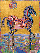 Fauvist Art Prints - Red Stallion Overlook Print by Bob Coonts
