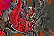Lebron Digital Art Prints - Red Steel DIgital Guitar Art by Steven Langston Print by Steven Lebron Langston