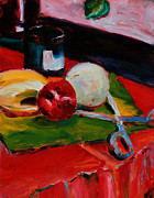 Table Cloth Posters - Red Still Life Poster by Janet Felts
