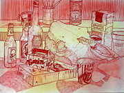 Featured Drawings - Red Still Life with Cow Skull by Richard Allen