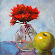 Indoor Still Life Painting Posters - Red Still  Poster by Nancy Merkle
