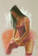 Erotic Pastels Posters - Red Stockings Poster by John Silver