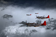 North American P51 Mustang Digital Art Posters - Red Storm Poster by James Biggadike