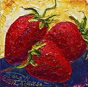 Strawberry Art Framed Prints - Red Strawberries II Framed Print by Paris Wyatt Llanso