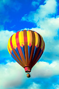 Colorado River Crossing Posters - Red Striped Hot Air Balloon Poster by Robert Bales