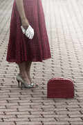 Woman Waiting Prints - Red Suitcase Print by Joana Kruse