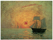 Water Vessels Paintings - Red Sun by Maxime Maufra