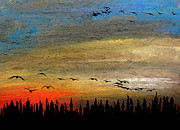 Waterfowl Pastels - Red Sun by R Kyllo