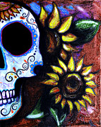 Gallacas Prints - Red Sunflower Skull Print by Lovejoy Creations