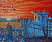 Sea Birds Paintings - Red Sunset on Shem Creek by Dwain Ray