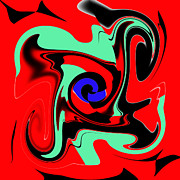 Logical Digital Art - Red Swirl - ref 0192 by Colin Hogan