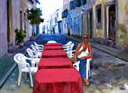 Cobblestones Prints - Red Tables in the Pelourinho Print by Douglas Simonson
