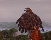 Red-tailed Hawk Paintings - Red-Tail Over Blue Ridge by Michael Allen