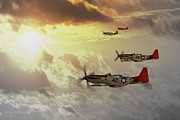 North American P51 Mustang Digital Art Posters - Red Tails Poster by James Biggadike