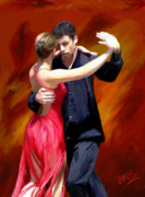 Hand Painted Digital Art - Red Tango by James Shepherd
